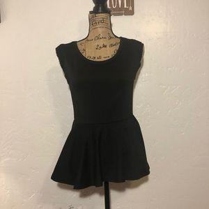 Black Bead peplum hem blouse, size medium